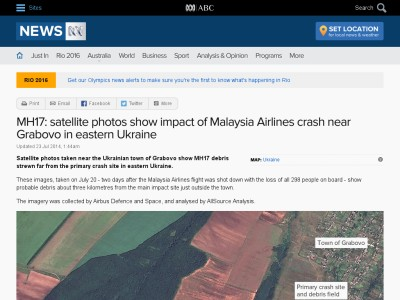 MH17: satellite photos show impact of Malaysia Airlines crash near Grabovo in eastern Ukraine - ABC News (Australian Broadcasting Corporation)
